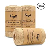 Fuyit Jute Twine String 900 Feet 3 Rolls Natural Thick Jute String for Floristry, DIY Arts Crafts, Decoration, Bundling, Garden and Recycling