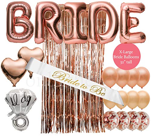 Extra Large 32 Inch Bride Balloons in 22 Piece Bachelorette Party Decorations Bridal Shower Decorations Kit Rose Gold Party Decorations Bride Sash
