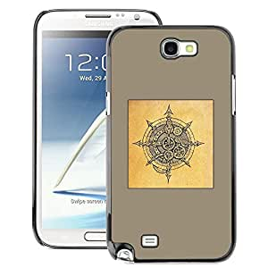 A-type Arte & diseño plástico duro Fundas Cover Cubre Hard Case Cover para Samsung Note 2 N7100 (Yellow Viking Shield Brown Black Sketch)