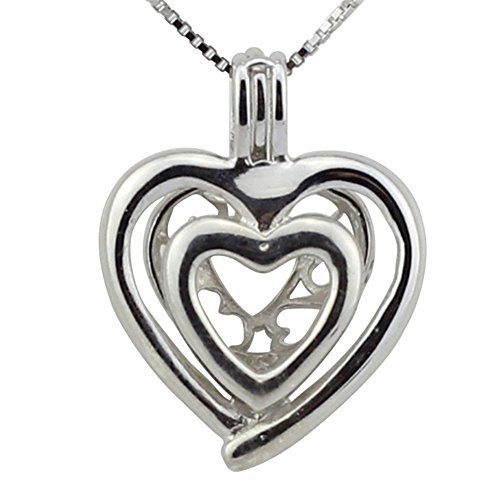 Ny Double Heart Silver Plated Necklace Locket Pendant Pack of 5pcs Plated Heart Locket
