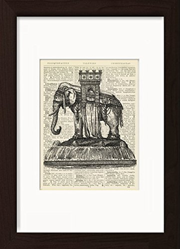 Bastille Elephant Monument Ready To Frame Mounted /Matted Dictionary Art Print by Dictionary Page Prints