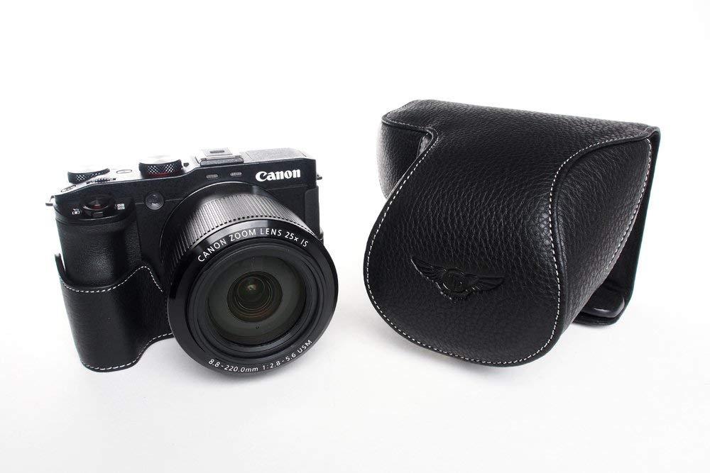 キャノン G3 X 用本革レンズカバー付カメラケース(24-600mm用) ブラック B07STBWLX1 カメラケース&ストラップTP1881&バッテリーケース FreeSize