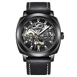 BENYAR Mechanical Watch Automatic Skeleton Self-Winding Leather Black Watch for Men Stainless Steel Waterproof Men's wrist watch men