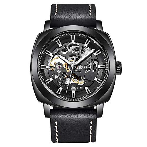 BENYAR Mechanical Watch Automatic Skeleton Self-Winding Leather Black Watch for Men Stainless Steel Waterproof Men's wrist watch gift fo