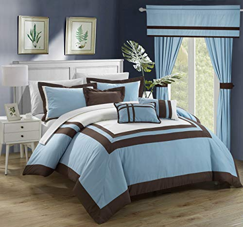 Chic Home Ritz 20 Piece Comforter Set Color Block Bed in a Bag with Sheets Curtains, King, Blue