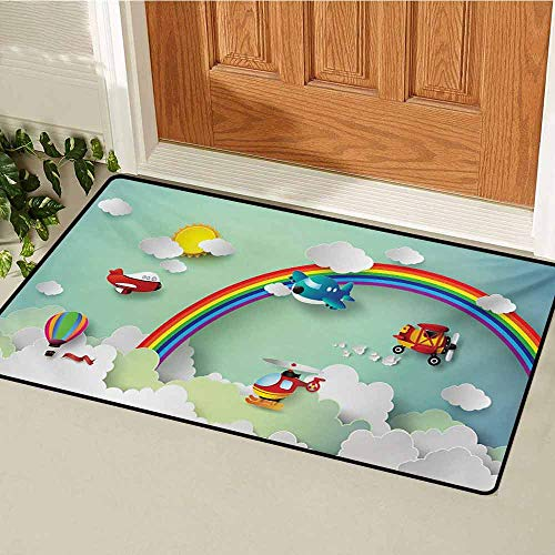 GUUVOR Children Welcome Door mat Plane Hot Air Balloon Helicopter Flying on Rainbow Sunny Sky Happy Baby Illustration Door mat is odorless and Durable W29.5 x L39.4 Inch Multi
