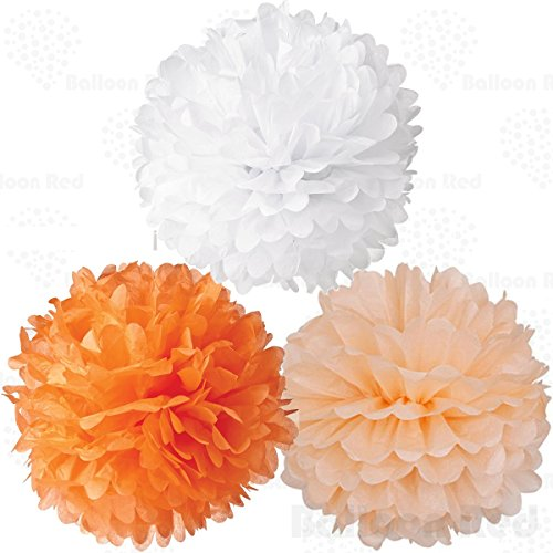 8 Inch Tissue Paper Flower Pom Poms, Pack of 12, Orange x 4 / Peach x 4 / White x 4