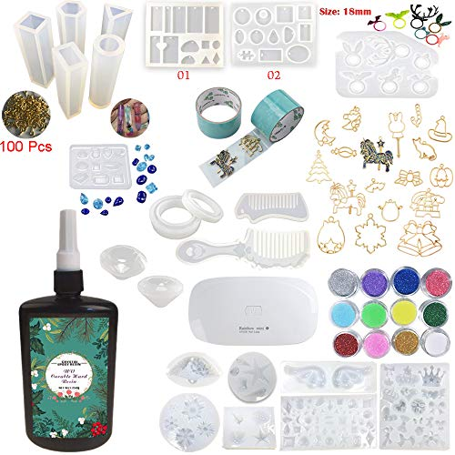 250g UV Epoxy Resin Kit with 22 Silicone Molds 17 Open Back Bezels 2 Tapes 12 Confetti & Glitters, with Mini UV Lamp, for Jewelry Making Pendants Charms Rings Earrings Necklaces Bracelets Diamonds