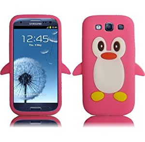 Hot Pink Penguin Silicone Jelly Skin Case Cover for T-Mobile Samsung Galaxy S 3 S3 III T999 Sprint Galaxy S3 L710