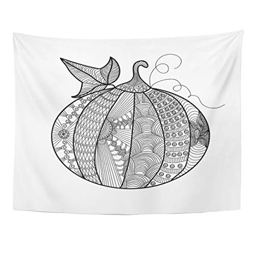 Tarolo Decor Wall Tapestry Fall Pumpkin Beautiful Pattern Doodles Coloring Page Book for Adults and Children Anti 80 x 60 Inches Wall Hanging Picnic for Bedroom Living Room -