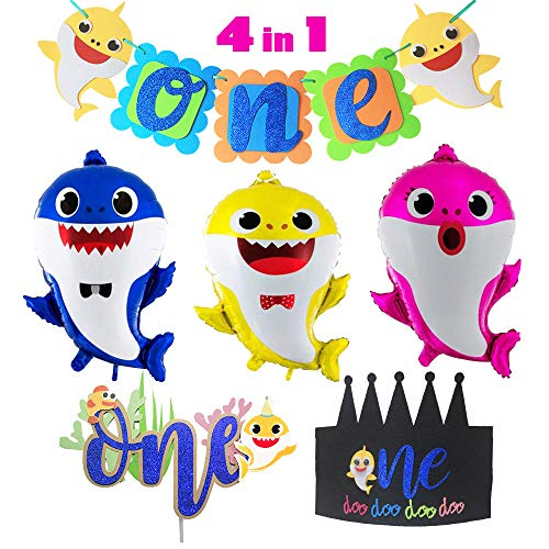 Party Themes For Baby Girl First Birthday (Baby Shark Theme 1st Birthday Party Supplies Set,1 Pack Shark Banner,1 Shark Cake Topper,1 Doo Doo Shark Birthday Hat,3 Shark Family Balloons One First 1th Year Boy Girl Kid Baby)