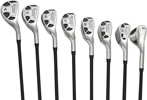 Men s Powerbilt Golf EX-550 Hybrid Iron Set, which Includes 4, 5, 6, 7, 8, 9, PW SW Senior Flex Right Handed New Utility A Flex Club