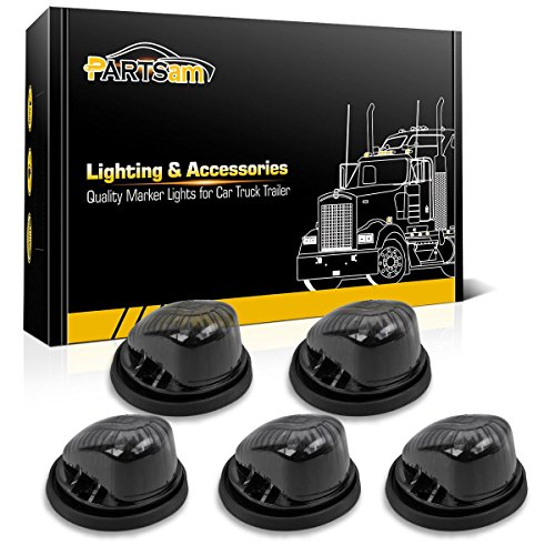Partsam 5X Cab Marker Light Smoke Covers/Lens+Base Compatible with Chevrolet/GMC C1500 C2500 C3500 C4500/Suburban 1973-1987 Full Size Pickup ()