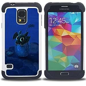 For Samsung Galaxy S5 I9600 G9009 G9008V - Design Happy Cute Dragon Dual Layer caso de Shell HUELGA Impacto pata de cabra con im????genes gr????ficas Steam - Funny Shop -