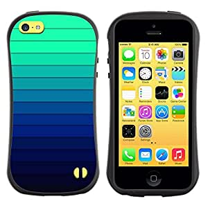 "Hypernova Slim Fit Dual Barniz Protector Caso Case Funda Para Apple iPhone 5C [Gradiente de color Rayas Azul Verde Luz""]"
