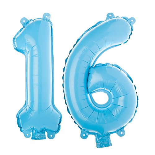 Ella Celebration Non-Floating 16 Number Balloons Sweet 16th Birthday Party Supplies Small 13 Inch (Sweet 16 Party Supplies Blue)
