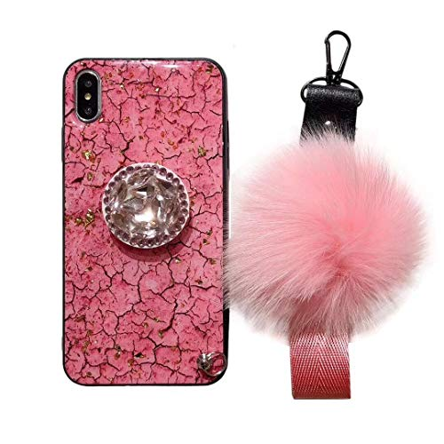 Airbag Kickstand Case, Plush Ball Wristband Cover, Bling Diamond Airbag Stand Holder Plush Ball Strap Glitter Marble Gel Case Cover for iPhone 6S (Pink, for iPhone 6S)