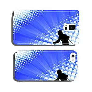child skiing silhouette on the abstract background - vector cell phone cover case Samsung S5