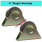 3'' Gate V Groove Wheel Steel Bracket Single Bearing Residential Driveway Slide Rolling Lot 2