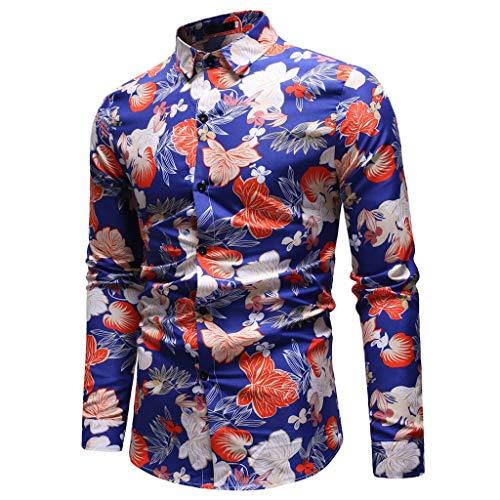 Fit Classique T Bouton Blouse Chemises Manches Tops Shirt Longues Foncé Homme Slim Debout Aimee7 De Chemise Col Imprimé Travail Casual Bleu wF1ITqA