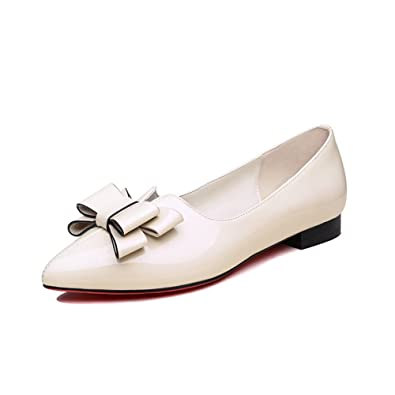 572d54175ab3 AdeeSu Womens Pointed-Toe Slip-Resistant Comfort Beige Patent-Leather Flats  Shoes SDC05370