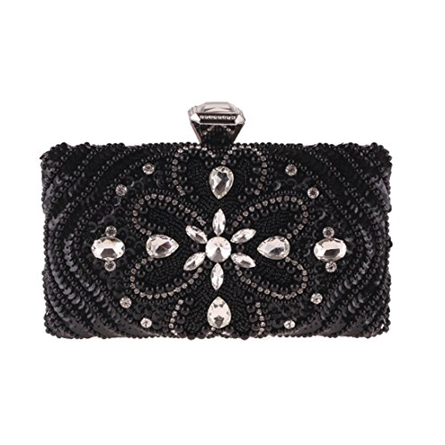 Evening Bag Diamond bag Evening Square Dress Dress Bag Clutch Beaded Fly Black evening Female Bag Small Bag wIxCHOqCf