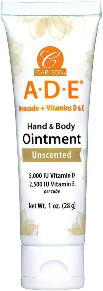 Carlson - ADE Hand and Body Ointment, 5000 IU Vitamin D, 2500 IU Vitamin E, Fragrance-Free, 1 oz