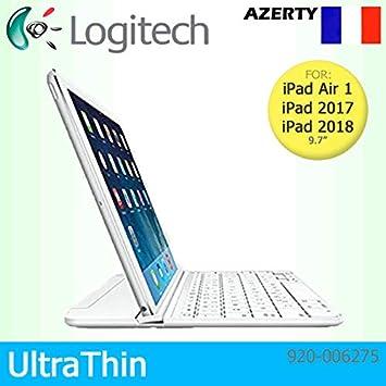 Logitech - Carcasa para Apple iPad Air 1, 2017 y 2018, diseño de teclado francés, color blanco