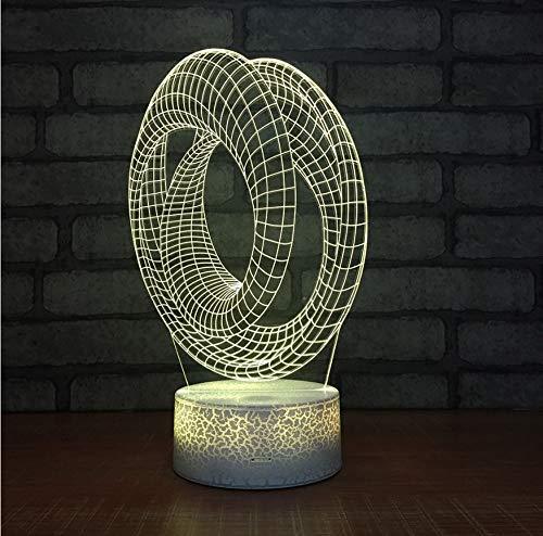Creative Table Lamp Desk Lamp 3D Acrylic Night Light Acryllicht-Nachtlicht-Kreative Tischplattenanzeige Des Ringes 3D Führte Kinderlampen-Bunte Dekorative Leuchten 3D Using for Reading, Working by OVIIVO (Image #2)