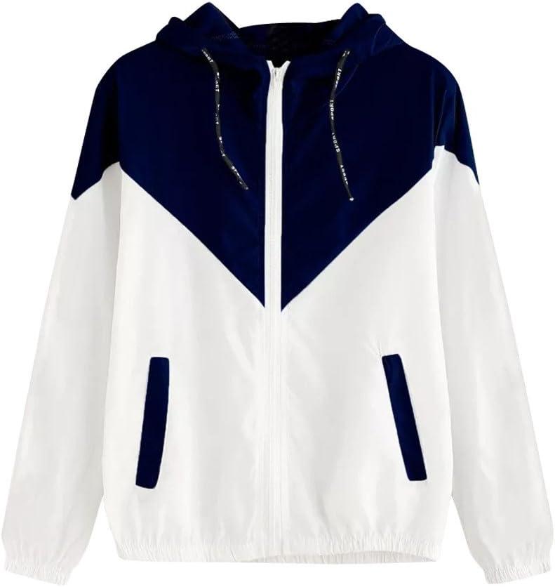 Franterd Women Sport Coat Color Block Patchwork Drawstring Hooded Zip up Pocket Sports Jacket Thin Windproof Windbreaker
