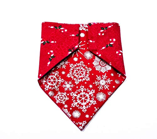 Christmas Snowflake and Candy Cane Pattern Reversible Pet No-Tie Dog Bandana Slip ()