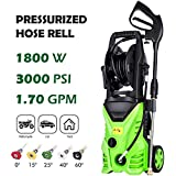 Schafter ST5 Pressure Washer, 3000 PSI Electric Pressure Washer 1800W Power Washer Rolling Wheels High Pressure Professional Washer Cleaner, Hose Reel