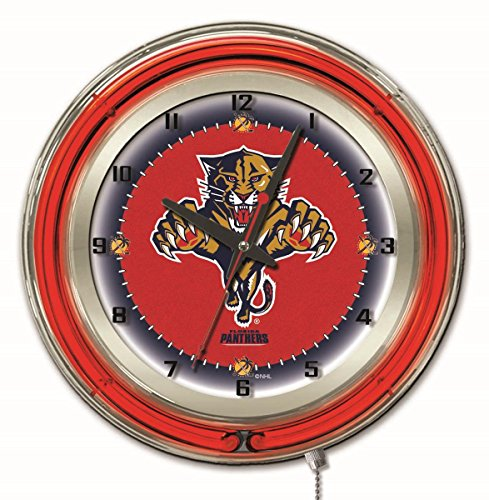 Florida Panthers Clock - Holland Bar Stool Co. Florida Panthers HBS Neon Red Hockey Battery Powered Wall Clock (19
