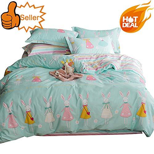(OTOB Children Cartoon Rabbit Twin Duvet Cover Set Cotton 100 3 Piece Ballerina Princess Twin Bedding Set for Kids Girls Baby Toddler Crib Child, Twin)