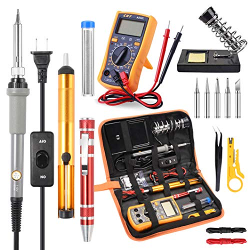 - Soldering Iron Kit Electronics, Rarlight 60W Adjustable Temperature Welding Tool, Digital Multimeter, Soldering Iron Tips,Desoldering Pump,Screwdriver,Solder Wire,Tweezers,Stand,Wire Stripper Cutter