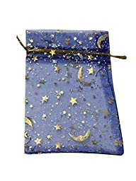SUNGULF 100Pcs Sheer Organza Drawstring Pouches Stars And Moon Wedding Gift Bags Blue Color 4x5 Inches