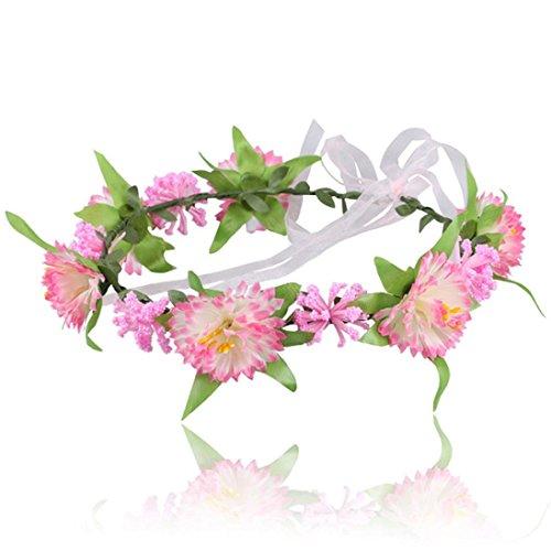 kingko® Baby Kinder handgefertigte Blume Stirnband Headband Kranz Kopfschmuck Rosa