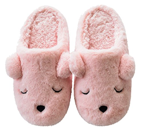 Bedroom Dog Warm Slippers Womens Cattior Fleece Comfy Fuzzy Pink Slippers 045Wqvw