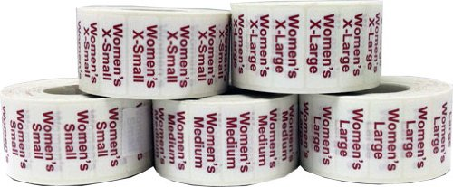 Womens Retail Clothing Size Strip Adhesive Stickers Clear 1.25 x 5'' Shirt Labels for Apparel XS, S, M, L, XL by InStockLabels.com