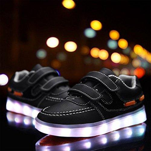 [+Pequeña toalla]De carga USB zapatos de los niños chicos que emite luz zapatos zapatos de los zapatos luminosos LED iluminados deportiva c39