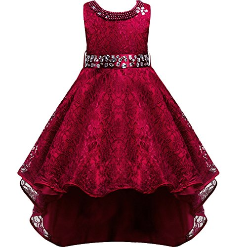 Little Girls Gown (Flower Girls Vintage Overlay Lace Beaded Rhinestone Bridesmaid Wedding Tulle Dresses Party Evening Gown Burgundy 5-6 Years)