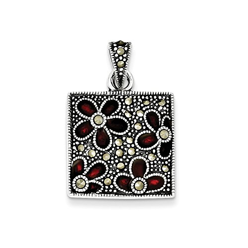 925 Sterling Silver Marcasite Red Enamel Flowers In Square Pendant Charm Necklace Flower Gardening Fine Jewelry Gifts For Women For Her