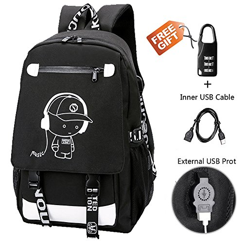 Anime Backpack Luminous Backpack Boys School Backpack Noctilucent School Bags Boys Bookbags for High School USB Chargeing port&anti-theft Daybag (MUSIC 1)