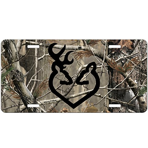 (Simply Customized Camo License Plate with Black Buck Doe Deer Heart Front License Plate - Custom Car Tag - Auto Tag Vanity NPLP)
