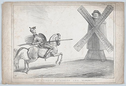 John Doyle | Don Quixote Attacking the Windmill | Antique Vintage Fine Art Print Reproduction