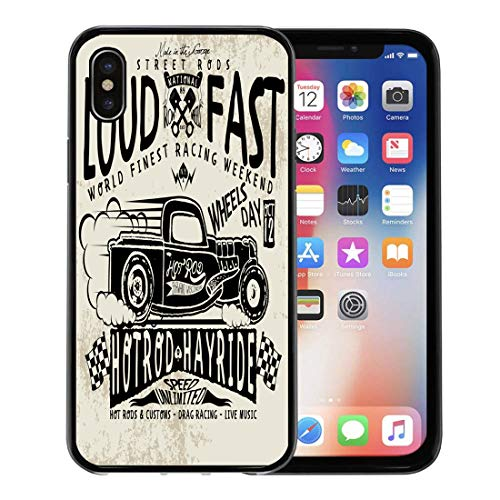 - Semtomn Phone Case for Apple iPhone Xs case,Hot Hotrods Car Old School Vintage Rod Truck Race Skull Retro for iPhone X Case,Rubber Border Protective Case,Black