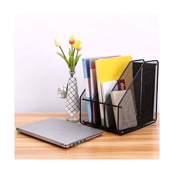 Retail Paratpar 3 Layer Metal Mesh File Rack Desktop Document, News Paper, Letter, Trays Storage Frame Office Desktop Supplies 7