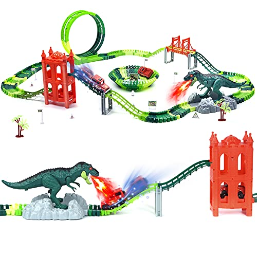 Dinosaur Toys Race Track Set 239 PCS , Flexible Train Tracks with With 1 elevator, 1 spray dinosaur,1 Ferris wheel (360 Degree Rotation),1 Bridge,2 Electric Cars ,Best Gift for kids Boys and Girls