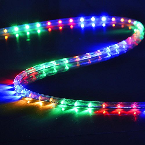 Christmas lights 50ft rgb multi color 2 wire led rope for Multi color led landscape lighting