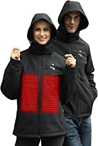 Lataw Winter Women Coats USB Electric Abdominal Back Waterproof and Windproof Heated Warm Hooded Coat Jacket Temp Control Overcoat